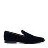 Donkerblauwe velvet loafers