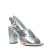 Metallic-Sandaletten mit subtilem Muster