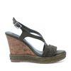 Donkergroene sleehak sandalen