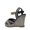 Zwarte sleehak sandalen met print