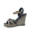Sandales à talon compensé avec imprimé - noir