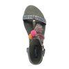 Donkergroene sandalen met pompoms