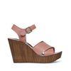 Nude sandalen met sleehak