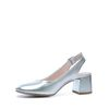 Lage chunky slingback pumps zilver