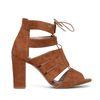 Cognacfarbene Sandaletten mit Schnürung