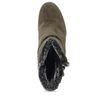 Olijfgroene korte laarzen met hak