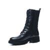 Zwarte hoge biker boots met sierrits