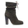 Donkergroene korte laarzen met hak