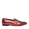 Rote Metallic-Loafer
