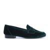 Grüne Samt-Loafers