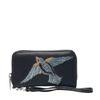 Zwarte portemonnee met vogel