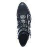 Schwarze Stiefeletten mit vier Schnallen und Nieten