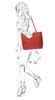Rode handtas met binnentas