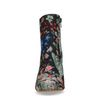 Donkerblauwe enkellaarsjes met hak met bloemenprint