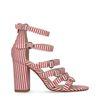 Sandalen met hak rood wit gestreept