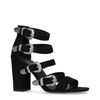 Zwarte sandalen met hak met western gespen