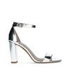 Zilveren sandalen met hak