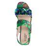 Groene plateau sandalen met pailletten en bloemen