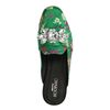 Groene muiltjes met bloemenprint en diamanten
