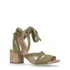 Donkergroene suède sandalen met hak