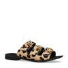 Luipaard print slippers met 3 gespen