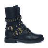 Zwarte biker boots met gespen en gouden details