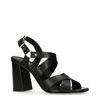 Schwarze Leder-Sandaletten