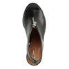 Zwarte leren sandalen met hak met rits