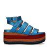 Metallic blauwe platform sandalen