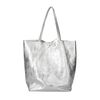 Metallic zilveren shopper