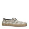 Gestreepte lage sneakers wit/blauw