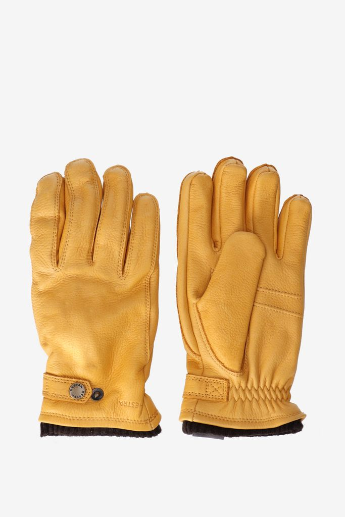 Hestra leren handschoenen okergeel