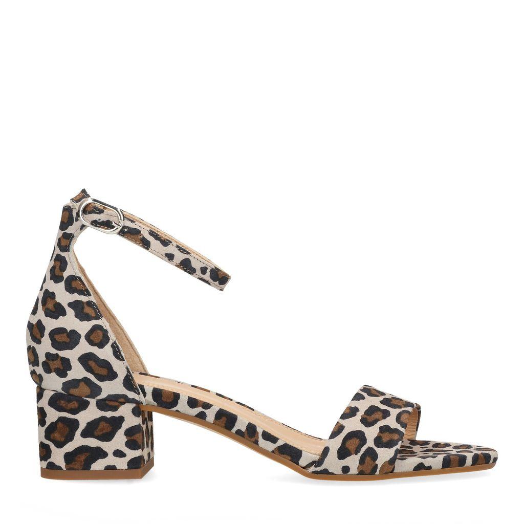 Panterprint suède sandalen met hak