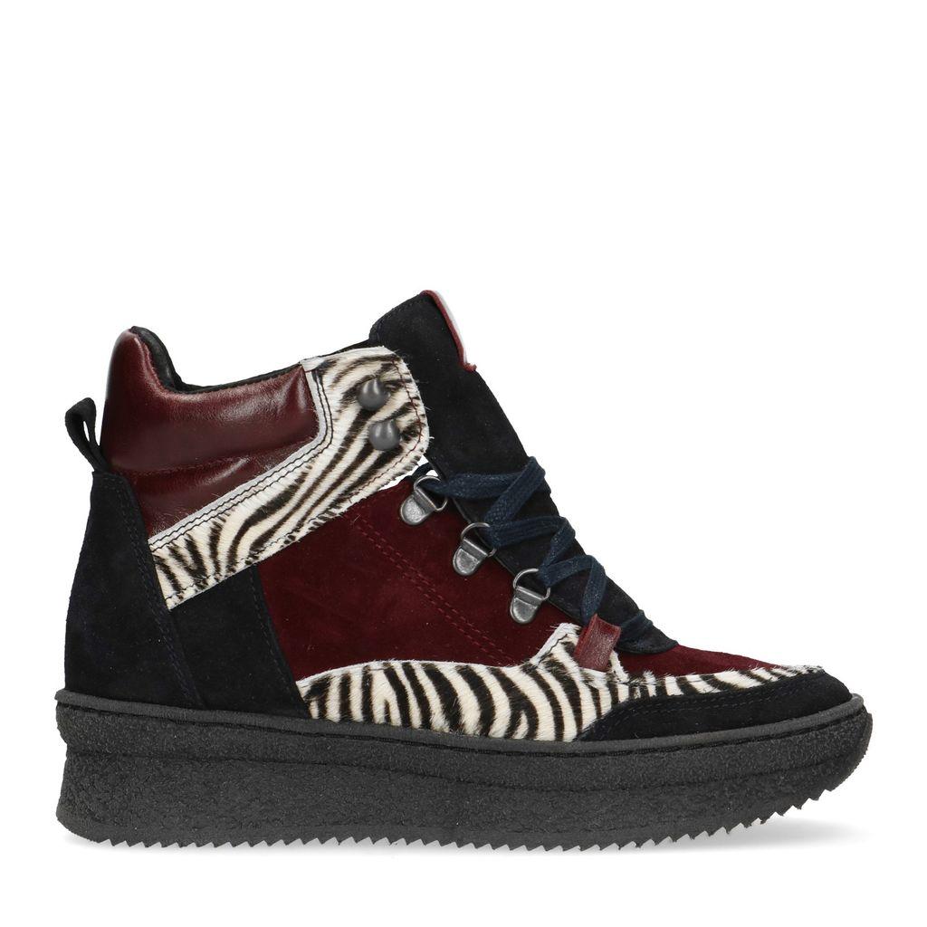 Bordeaux leren sneakers met zebra print