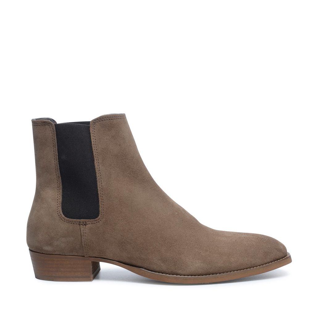 Camel chelsea boots met spitse neus (Maat 46)