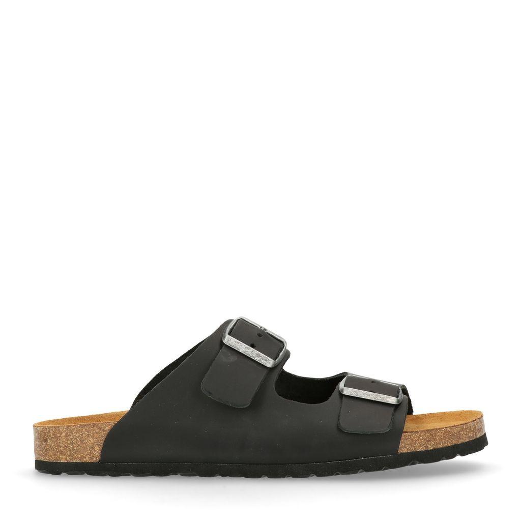 Zwarte leren slippers (Maat 41)