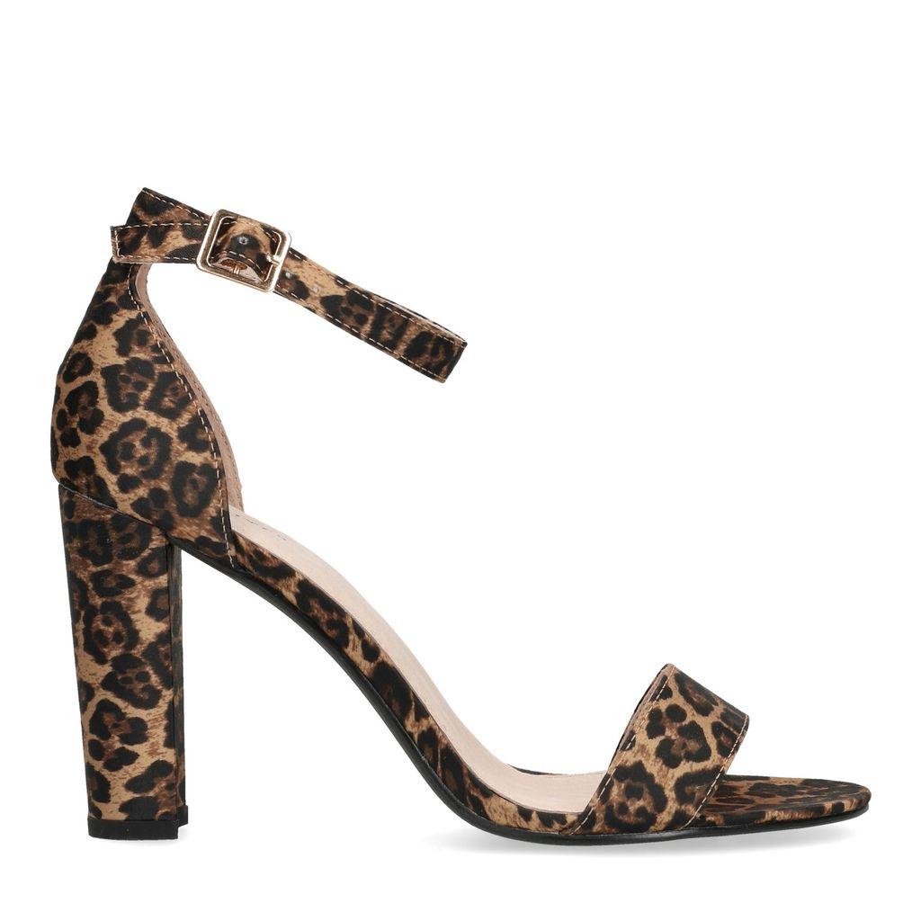 Sandalen met hak panterprint (Maat 39)