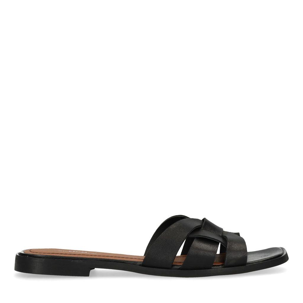 Zwarte slippers met bandjes