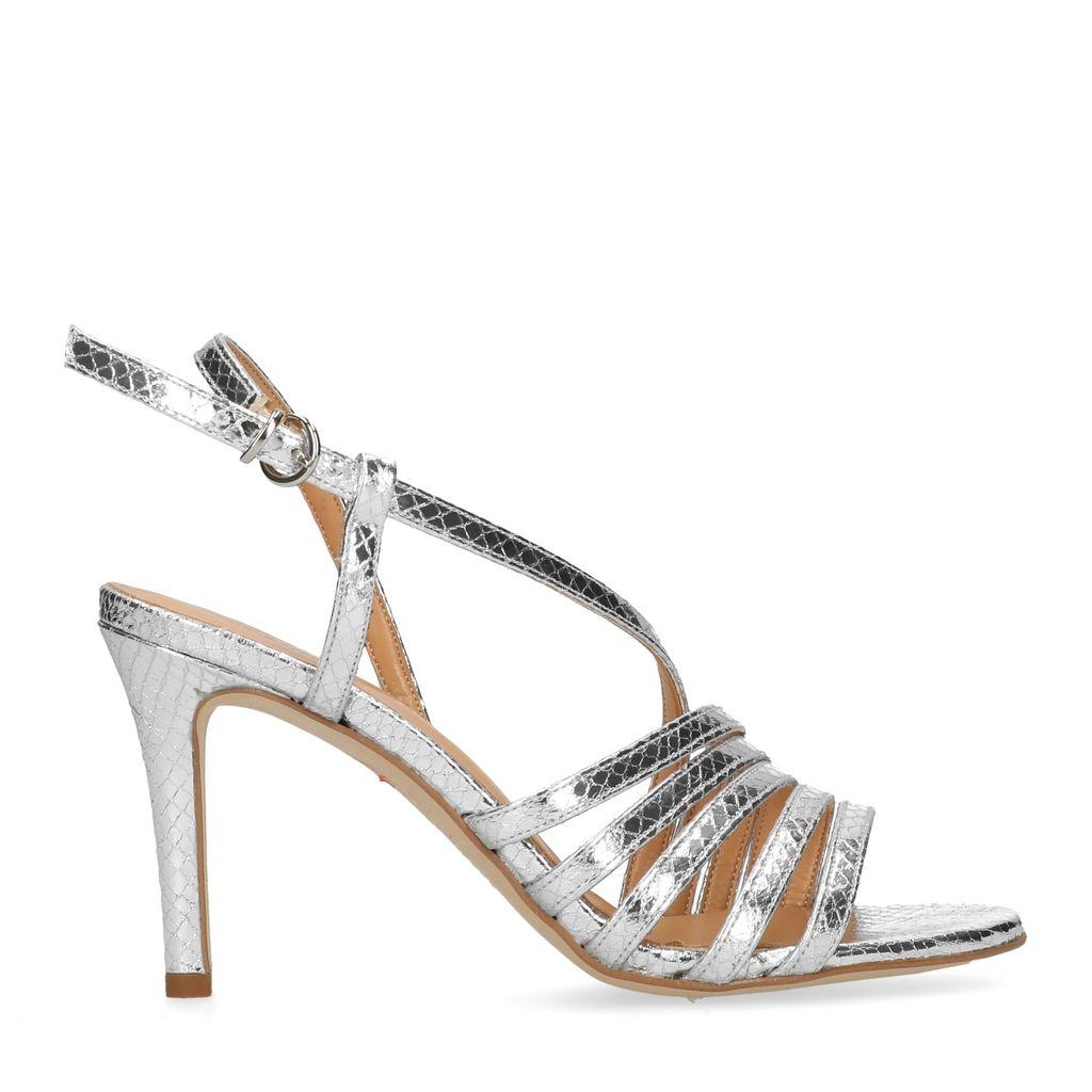 Zilverkleurige sandalen met hak (Maat 36)