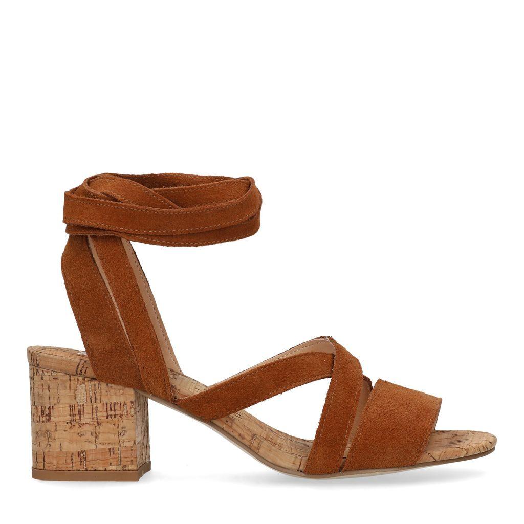 Cognac suède sandalen met hak (Maat 37)