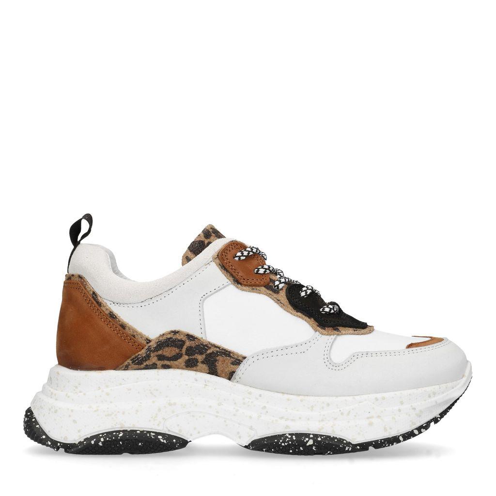Witte dad sneakers met panterprint (Maat 36)