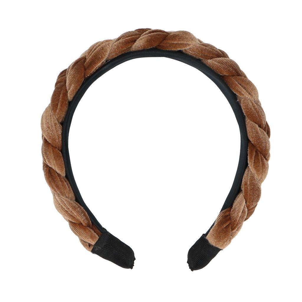 Sacha Bruine gevlochten velvet haarband  - bruin