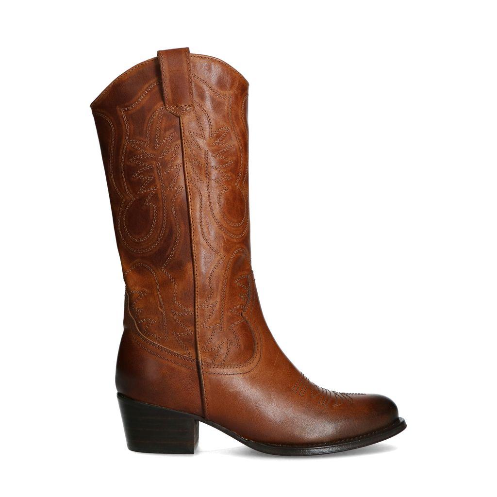 Sacha Cognac leren western boots  - bruin