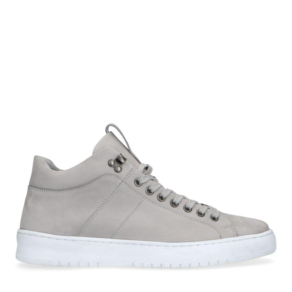 Sacha Lichtgrijze hoge nubuck sneakers  - grijs