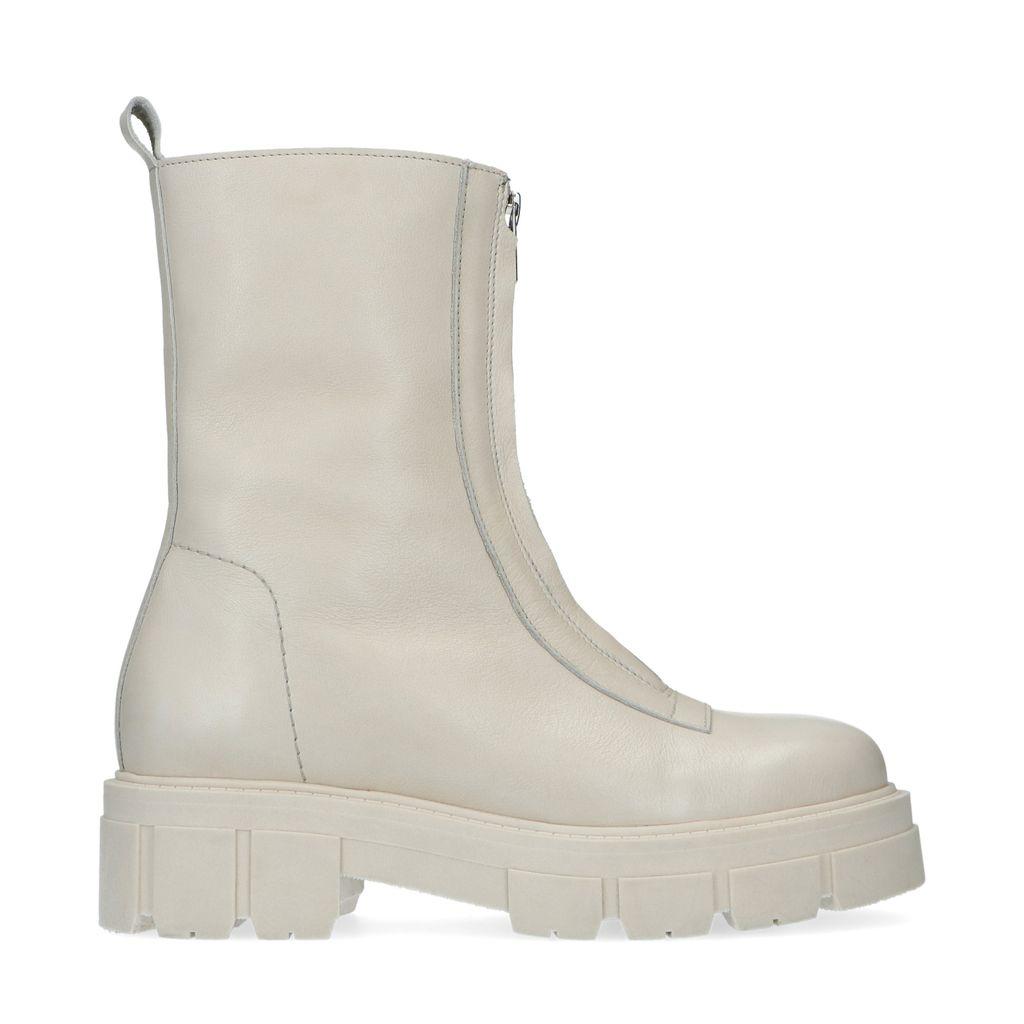 Sacha Off white leren boots met rits  - wit