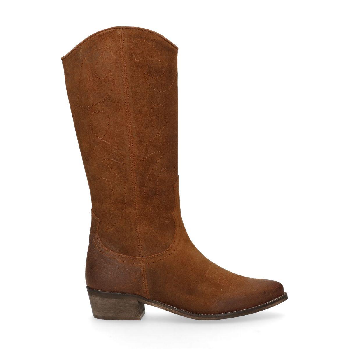 Bottes style cowboy en cuir - marron (Maat 37)