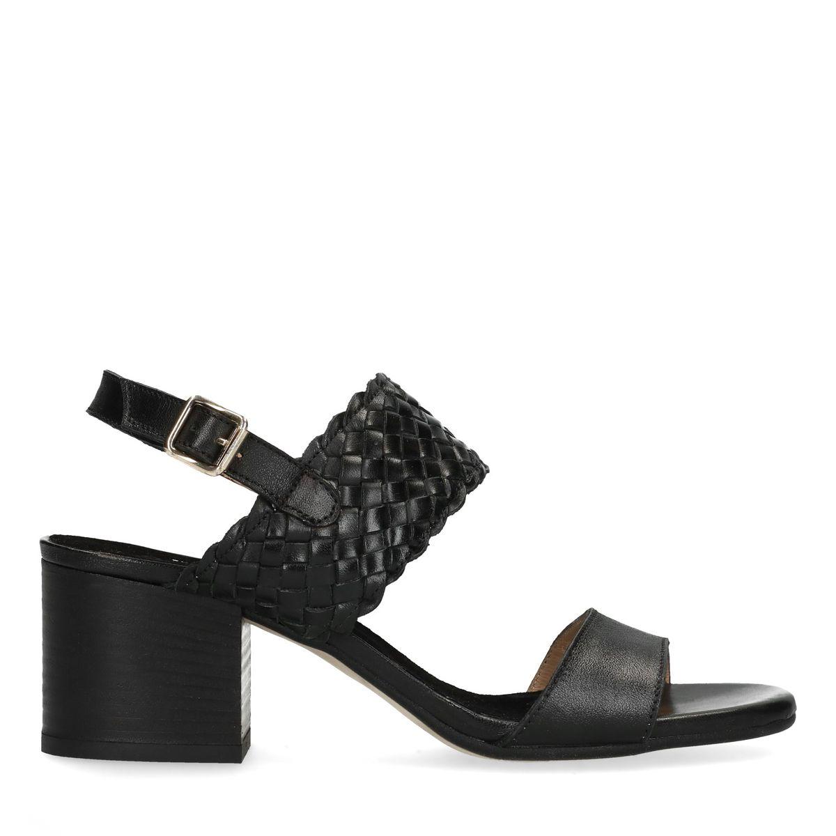 Escarpins bas en cuir avec détail tressé - noir (Maat 37)