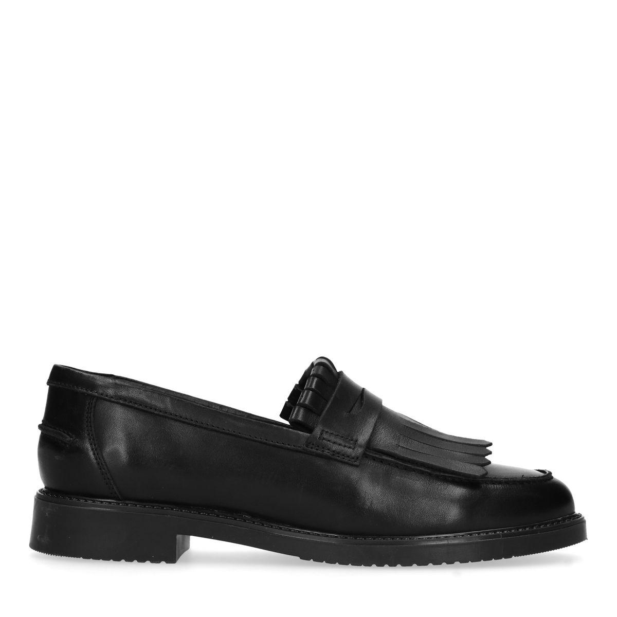 Loafers en cuir avec franges - noir (Maat 40)