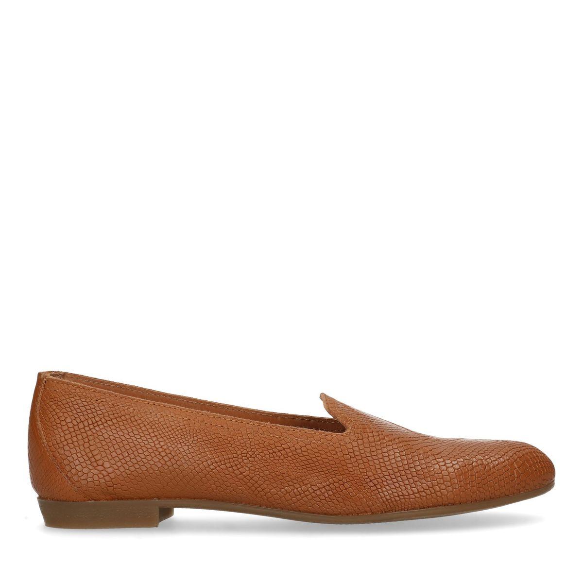 Loafers en cuir avec motif en relief - marron (Maat 36)