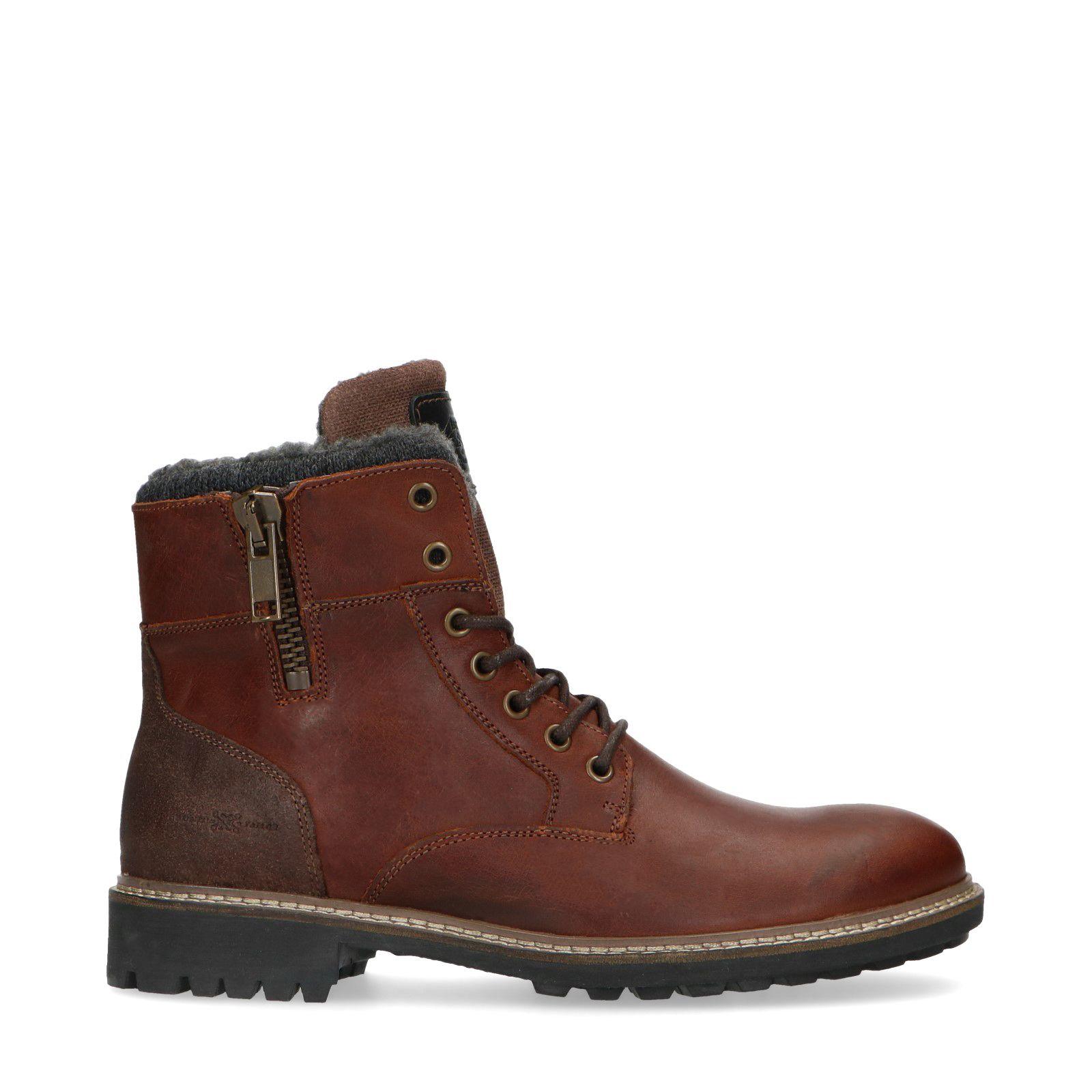 Bruine leren worker boots met wol Heren   MANFIELD
